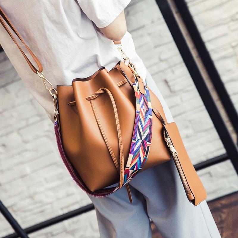 saco balde Strap cor da moda para mulheres pu bolsa de couro Desinger Ladies Bandoleira Sacos de bolsa bolsa feminina e Handbag