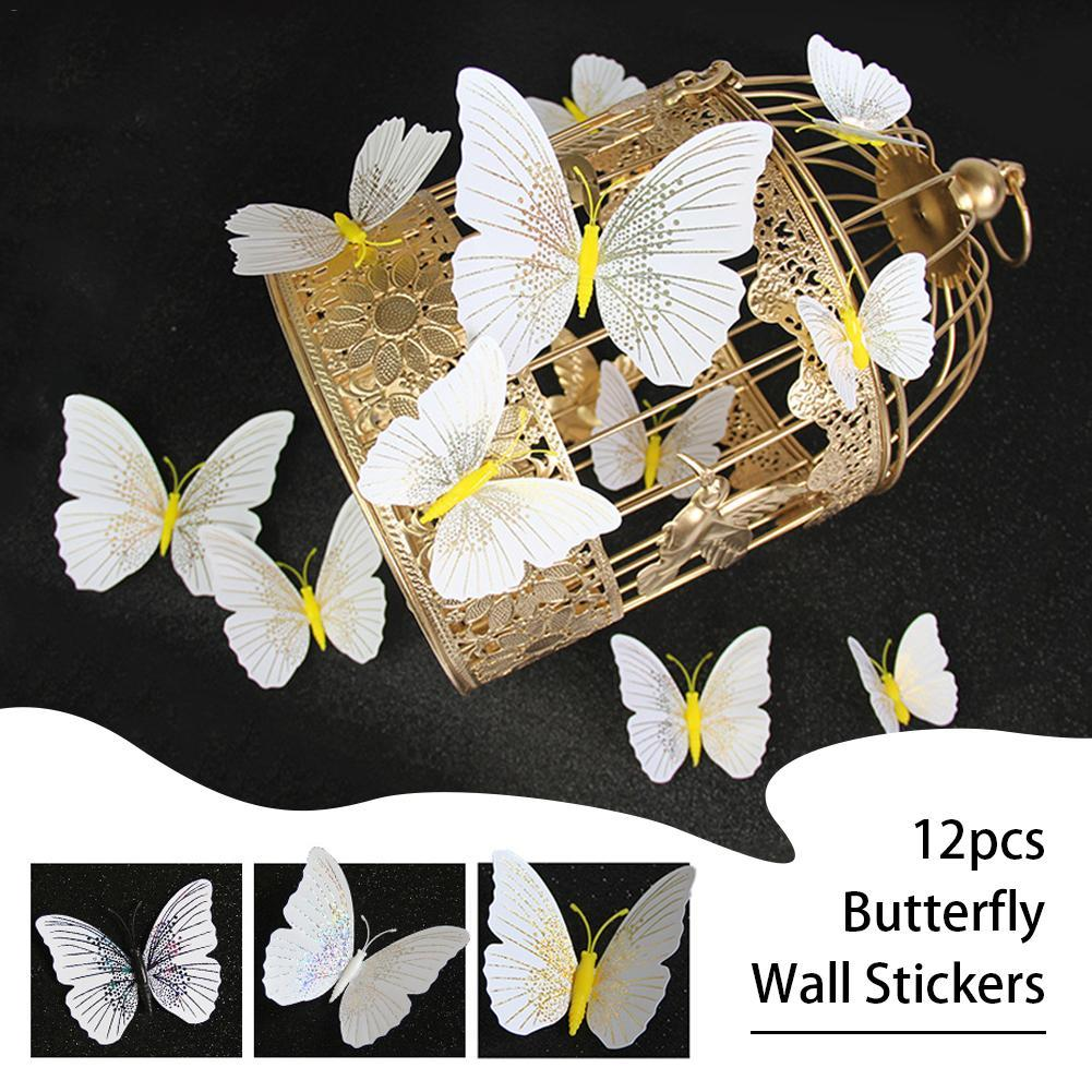 12Pcs 3D Butterfly Wall Stickers Decal Decor Art Fridge Magnet Decoration Home High Quality