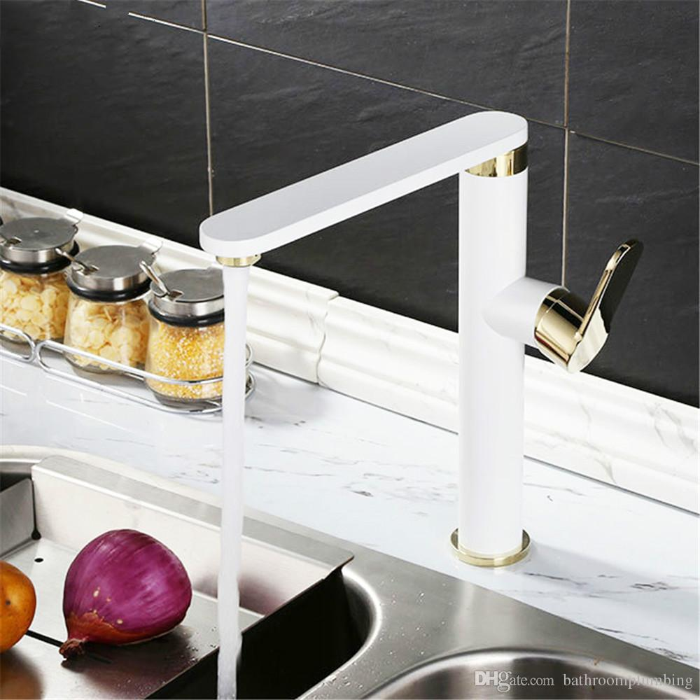 3 colors choose sink kitchen mixer faucet brass chromed white and black rotation single hole basin faucet mixer tap