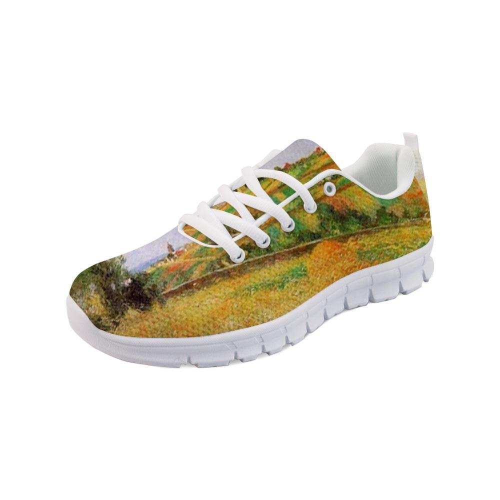 Дышащие кроссовки мужская настраиваемая обувь страна и природа живопись искусство печатные белые нижние квартиры дышащая весенняя обувь