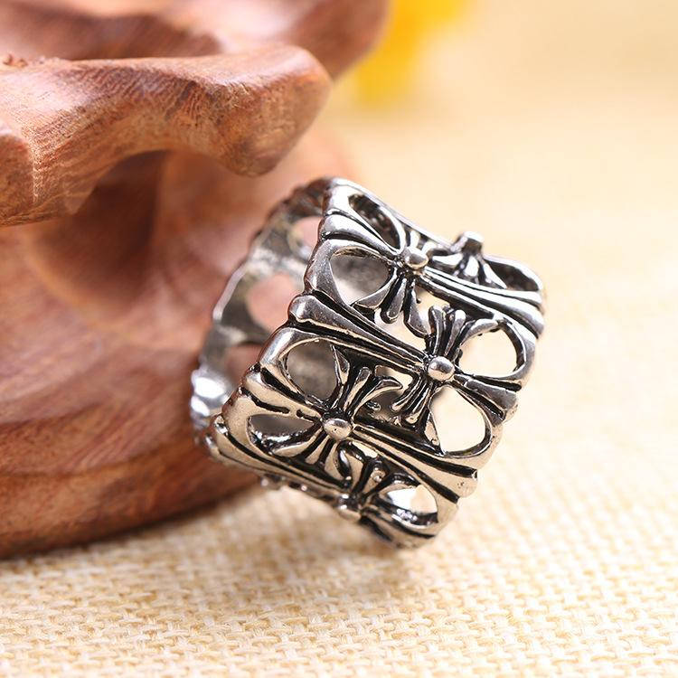 Fashion Stainless Steel Chrome & Hearts Ring Punk Rock High Quality Men Cross Ring Jewelry