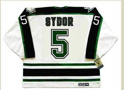 mulheres costume Homens Jovens Vintage # 5 Darryl Sydor Dallass Estrelas 1990 do CCM Hockey Jersey Tamanho S-5XL ou personalizado qualquer nome ou número