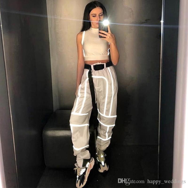 Del Reflectante Streetwear Patchwork Cargo Nueva 2019 A22 Fajas 5 Gótico Mujer Llegada De Pantalones Compre Alta Raya Cintura Con mN08nvw