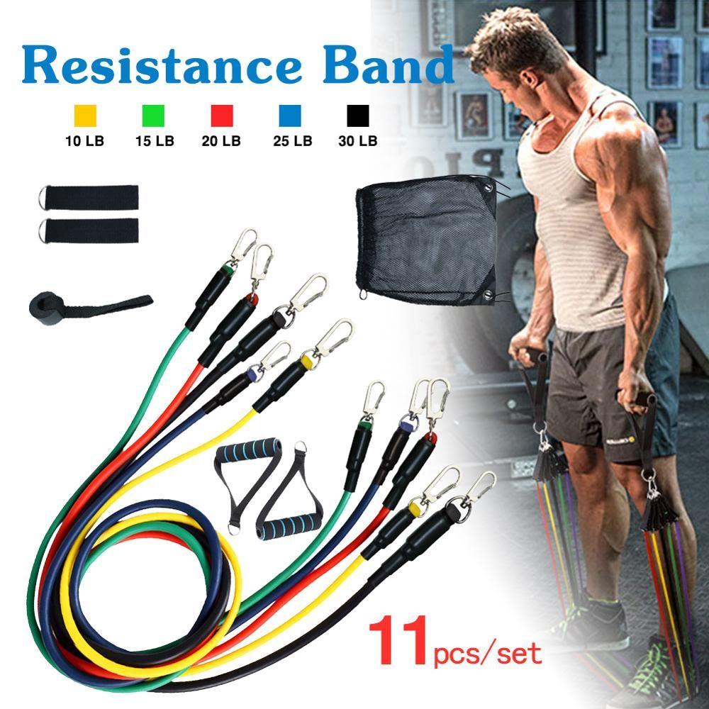 Resistance Bands Set Yoga 11PCS Pilates Latex Exercise Fitness Tube Workout Band