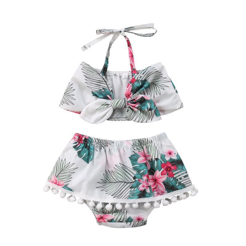 Novos 2018 do bebê roupas de verão menina Jogo floral moda infantil Meninas Impresso Halter bowknot Ties Tops + Tassel Calças Baby Girl 2pcs set