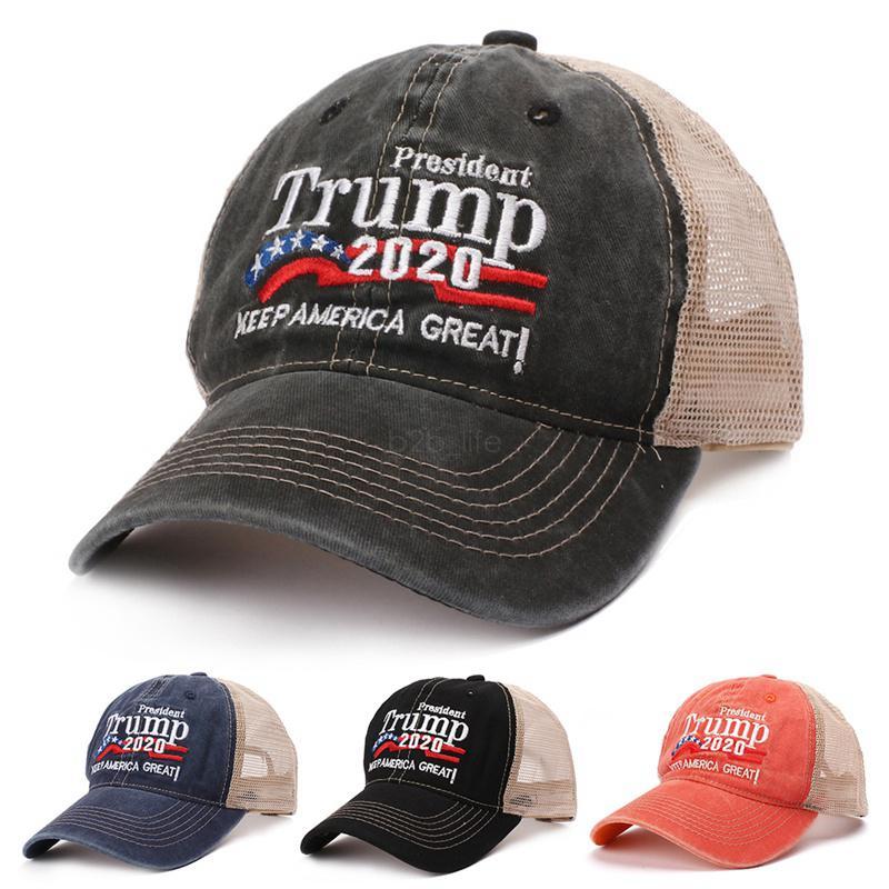 Donald Trump 2020 Beyzbol şapkası Patchwork açık olun Amerika Büyük Yine şapka Cumhuriyetçi Başkan Mesh spor kap LJJA-2423 yıkanmış