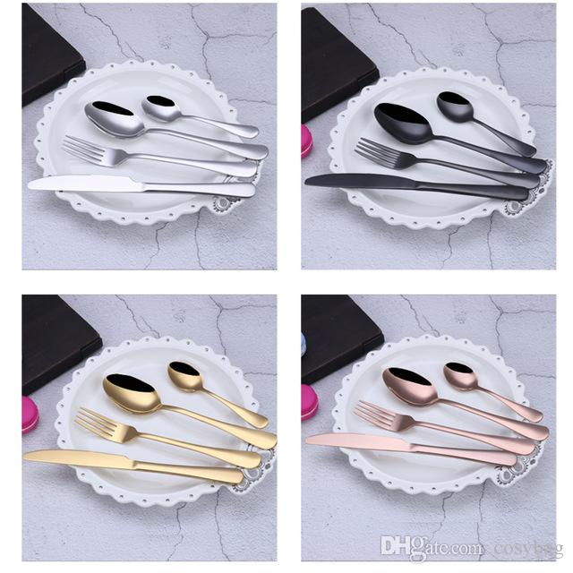 4Pcs/Set Stainless Steel Flatware Dinnerware Cutlery Set Knife Spoon Fork for Home Kitchen Hotel Restaurant