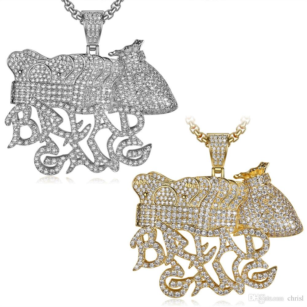 Iced Out Gold Silver Plated BREAD GANG Pendant Necklace Micro Zircon Charm Men Bling Hip Hop Jewelry Gift