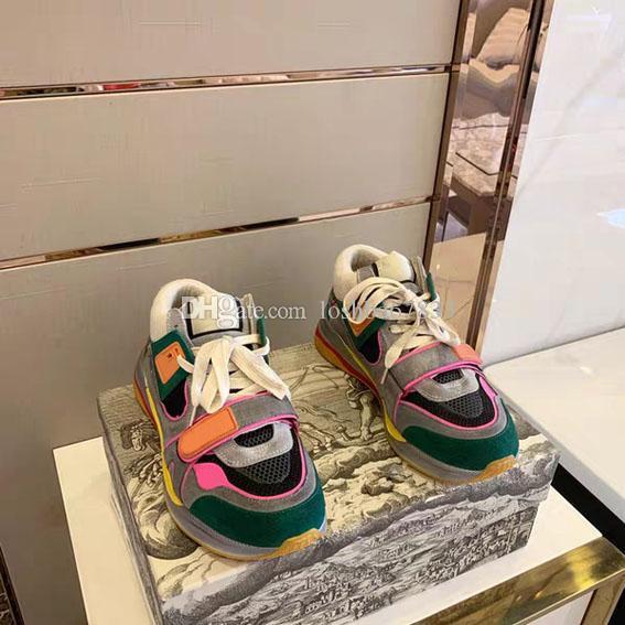 캐주얼 신발에게 남성 여성까지 두꺼운 단독 복고풍 레이스 바느질 최신 베스트셀러 톱 디자이너 신발 패션 반사 스트립 벨크로 진짜 가죽