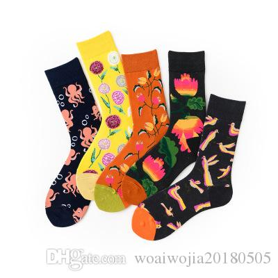20191005 Männer neue große Blume Tiere vier Jahreszeiten Liebhaber Socken
