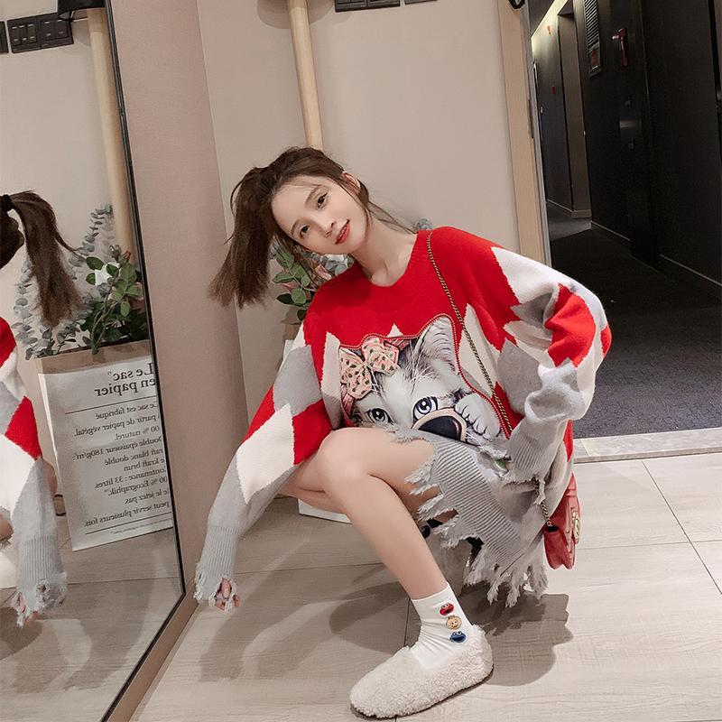 2020 새해 니트 크리스마스 스웨터 여성의 긴 중간 길이 새로운 스타일 느슨한 외부 착용 레드 탑
