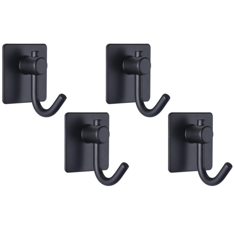 Negro auto adhesivo Puerta gancho toalla de baño Ganchos Stick de montaje en pared ganchos de colgar el traje Escudo Key, Super Strong Heavy Duty Baño