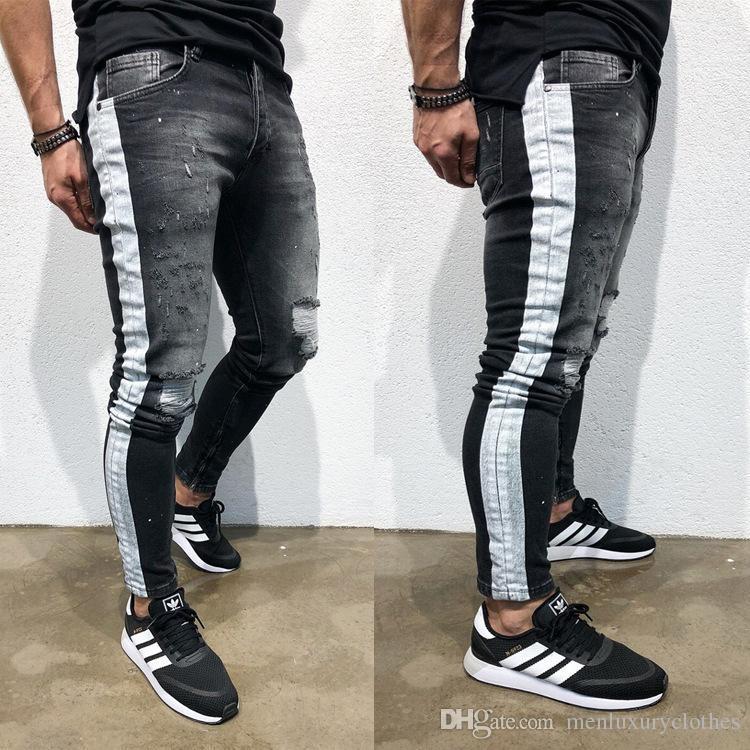 Compre Jeans Hombre Para Hombre Pantalones Vaqueros Rotos Negro Lateral Rayado Drapeado Motorista Jean Pantalones Del Lapiz A 37 95 Del Luxuryshirt Dhgate Com