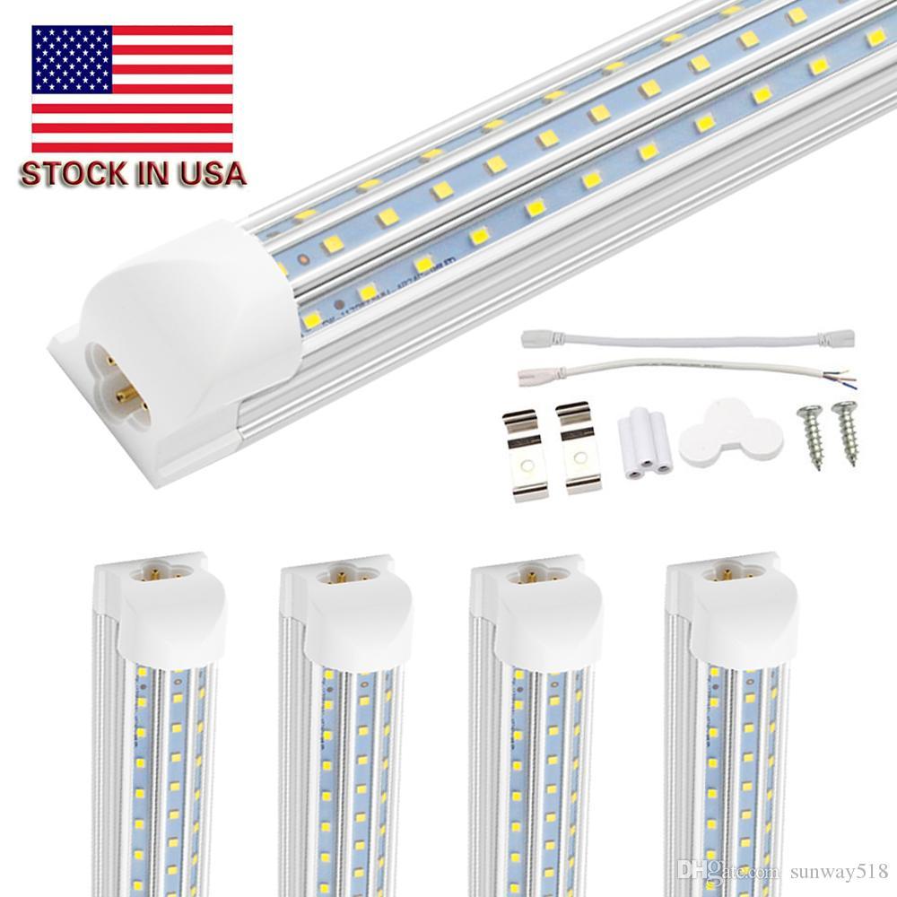 8ft LED ضوء متجر، 120W، 12000lm، 6500K، ثلاثة أضعاف شكل D D، ترقية T8 مدمجة أنبوب الصمام الخفيفة، بارد أبيض، غطاء واضح، إخراج هايت