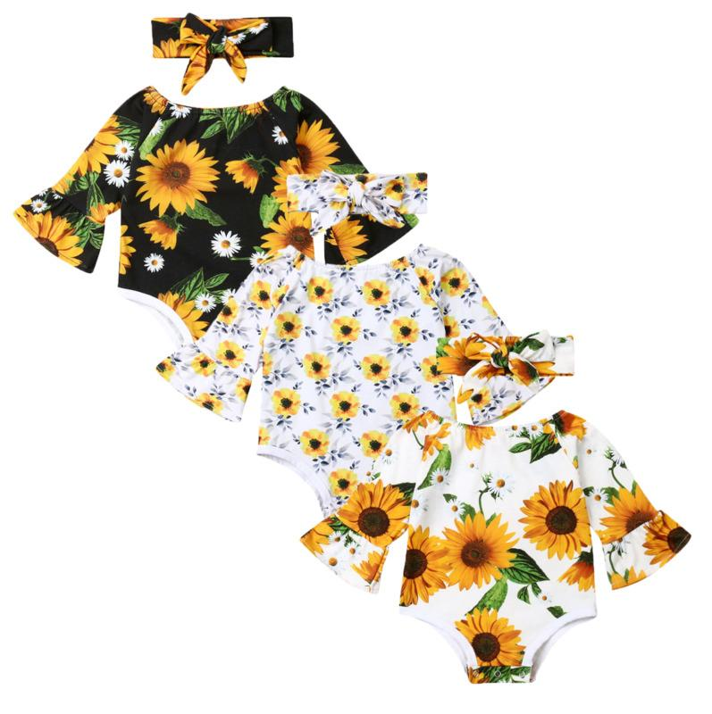 3-24m Newborn Infant Baby Girls Bodysuit Cotton Jumpsuit Outfits Long Sleeve Baby Clothes