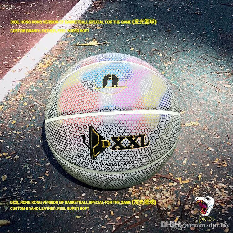 New DXXL 4. Holographische Luminous Basketball Regenbogen Licht reflektieren weiße Basketballkugel PU-Leder Innen Outdoor-Basketball Größe 7
