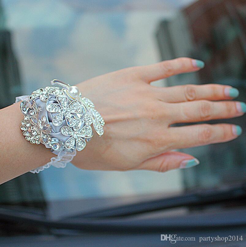 Yeni Gelin Kurdele Bilek Çiçek Şık Katı Renk Yapay elmas İnci Düğün Çiçek Toptan Moda Bayanlar Düğün Takı Aksesuar