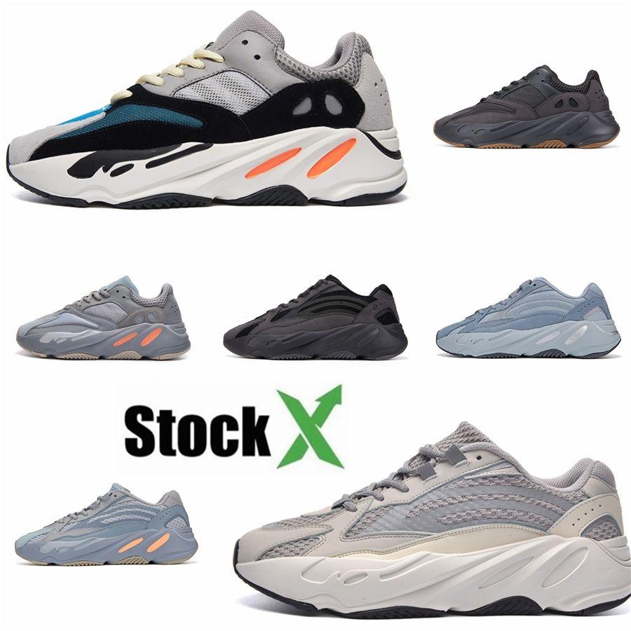 Kanye West 700 Hospital V2 Bleu Hommes Femmes Chaussures de course Teal réfléchissant aimant Utility Noir Inertie statique entraîneurs des hommes de sport Sn # QA973