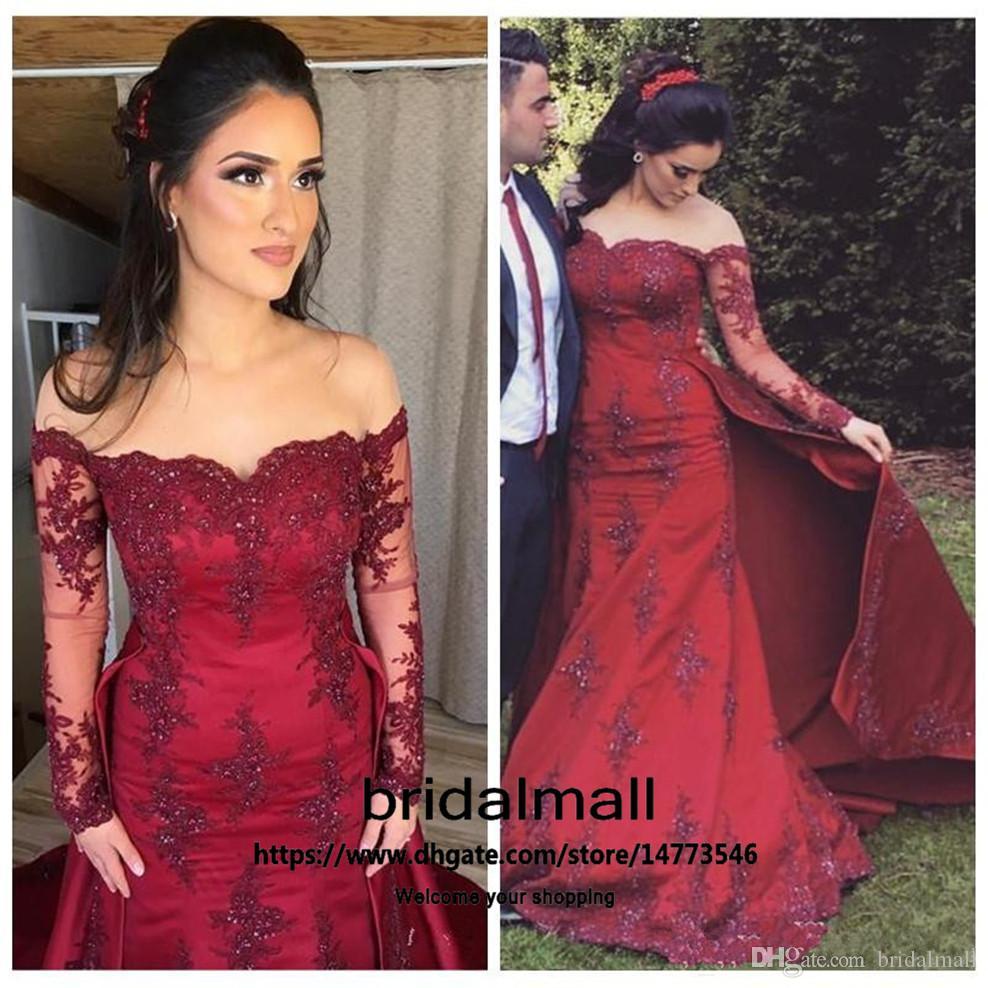 robes de soirée 2020 Bourgogne dentelle robes de soirée Appliques Dessus de jupe manches longues perles sirène robe de bal arabe Longues Robes de fête officielle