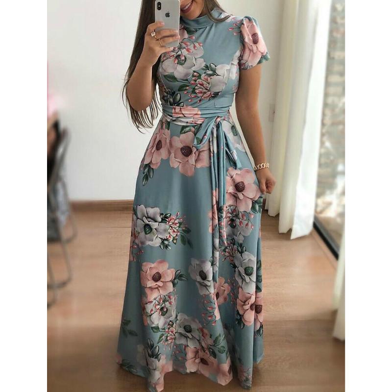 Vestido de Verão 2020 Mulheres Boho Floral Imprimir Maxi Vestido para mulheres elegantes vestidos longos MX200518
