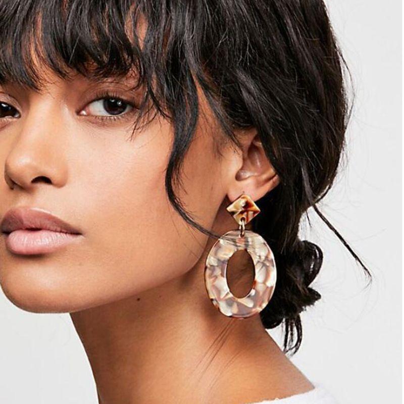 패션 ZA 쥬얼리 아크릴 수지 타원형 달린 귀걸이 여성 기하학 큰 원형 Tortoiseshell 귀걸이 아세테이트 Brincos