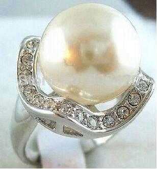 + + + 902 Серебряный Кристалл 14 мм белая раковина жемчужное кольцо размер 6-9