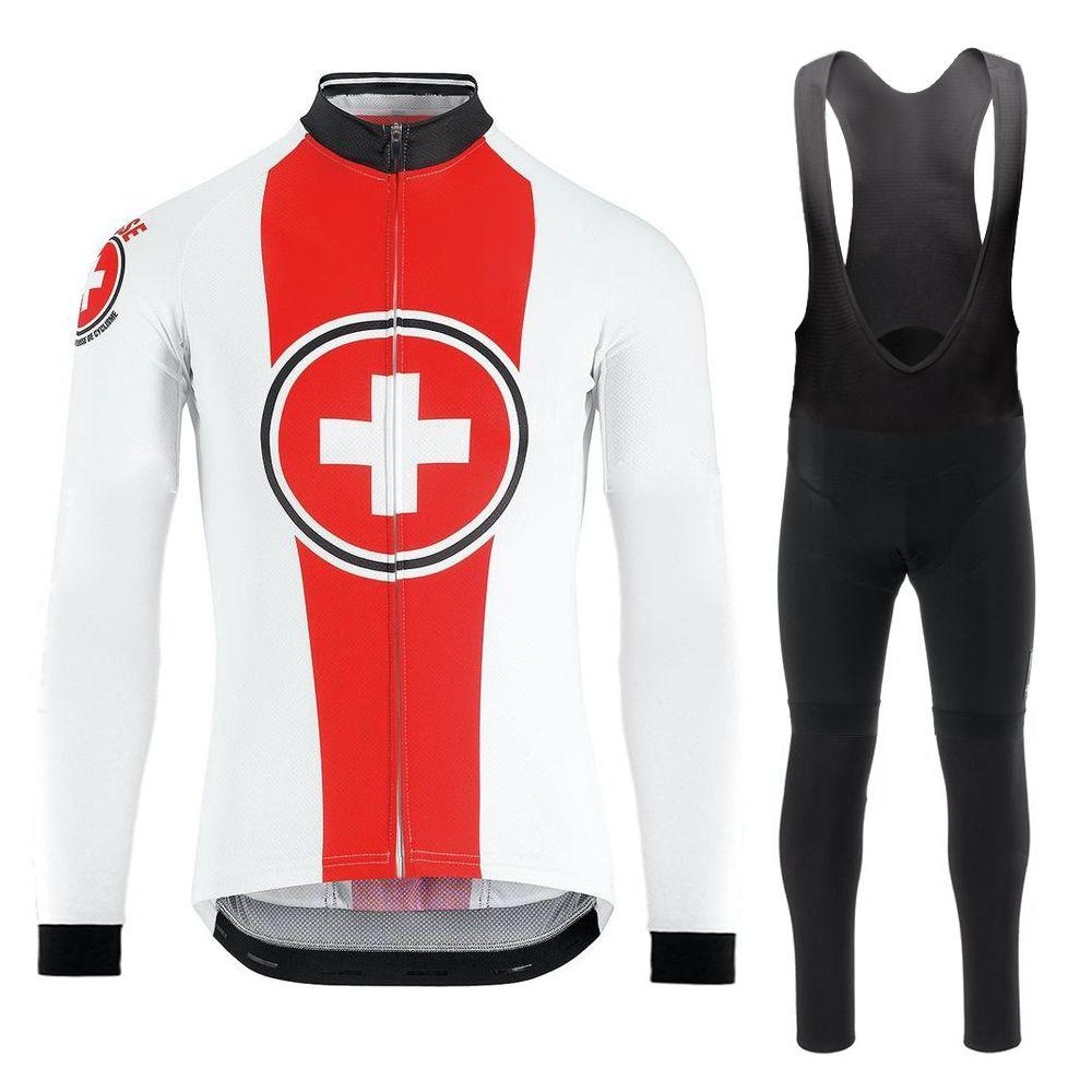 스위스 국가 팀 봄 여름 가을 얇은 복고풍 자전거 저지 남성 긴 소매 도로 자전거 의류 겨울 자전거 의류 셔츠 MTB 저지