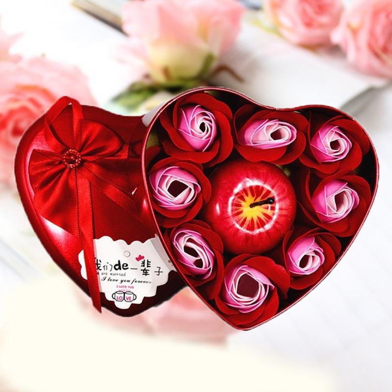 Wholesale Christmas Gifts Heart Shape Bath Body Rose Soap Flower Apple Shape Scent Candle Valentine's Day Birthday Xmas Gift Box DBC VT1203