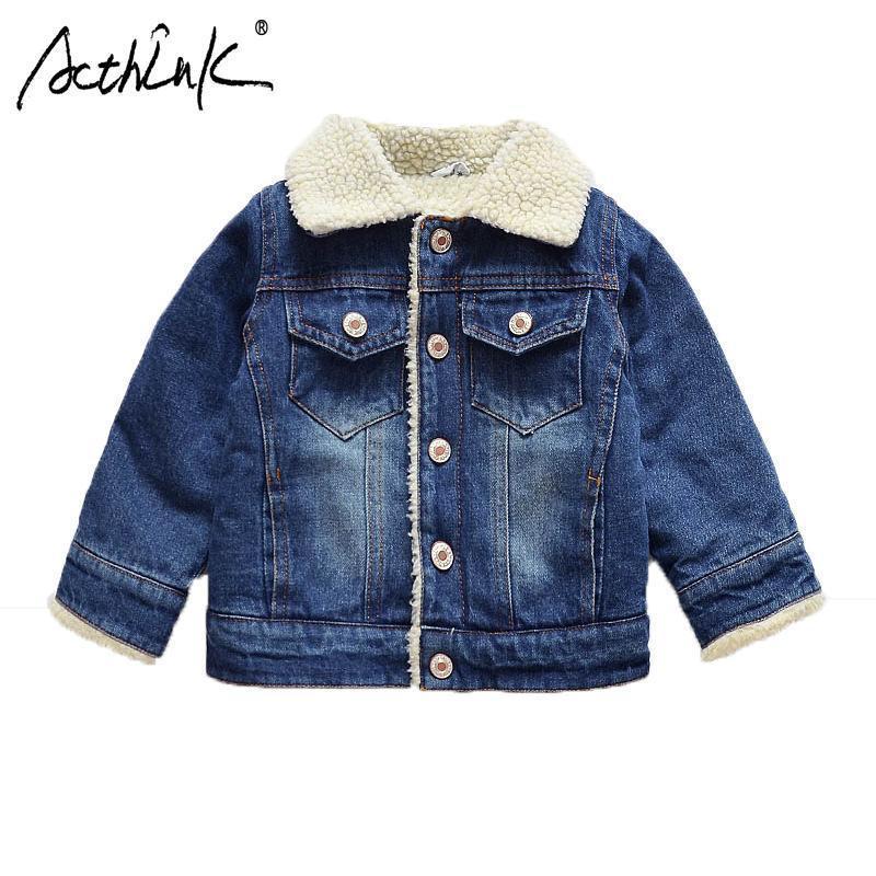 ActhInK New Boys pelliccia dell'agnello del rivestimento dei neonati inverno Pelliccia oys Giacca di jeans termica Infant Chic caldo