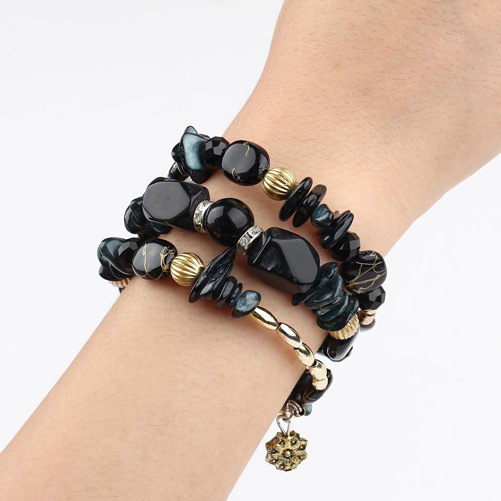 Оптово BOHO Многослойные бусы браслеты шарма для женщин Vintage Смола камень браслеты браслеты Pulseras Этнические украшения Charm