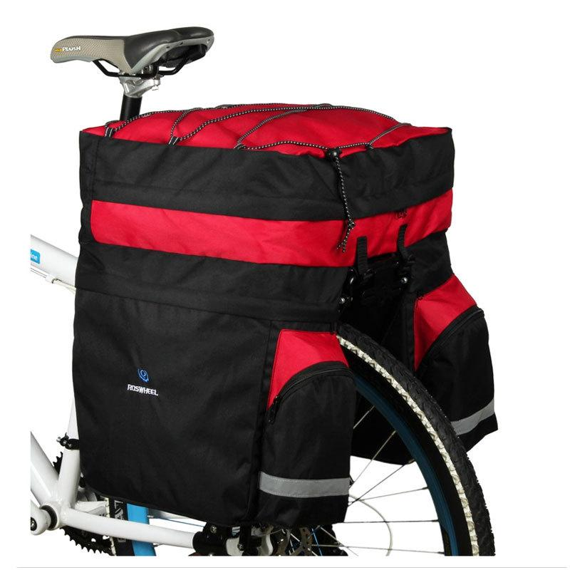 ROSWHEEL Bicycle Carrier Bag 60L Rear Rack Trunk Bike Luggage Back Seat Pannier Two Bags Outdoor Cycling Saddle Storage 14590 MX200717