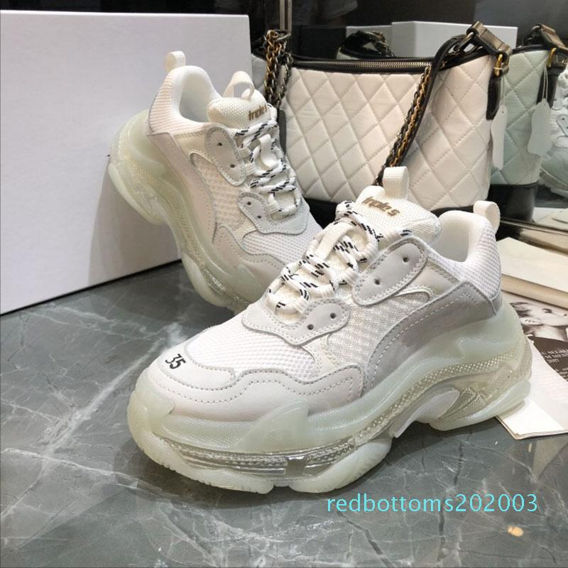 Paris colorful Crystal Bottom Triple-S Leisure Casual Shoes Luxury Dad Shoes Rainbow Triple S Sneakers for Men Women AR03