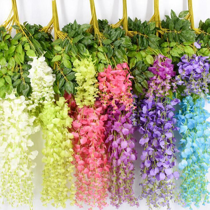 110 cm Artificial Flowers Silk Wisteria Fake Garden Hanging Flower Plant Vine Home Wedding Party Event Decor DHF514