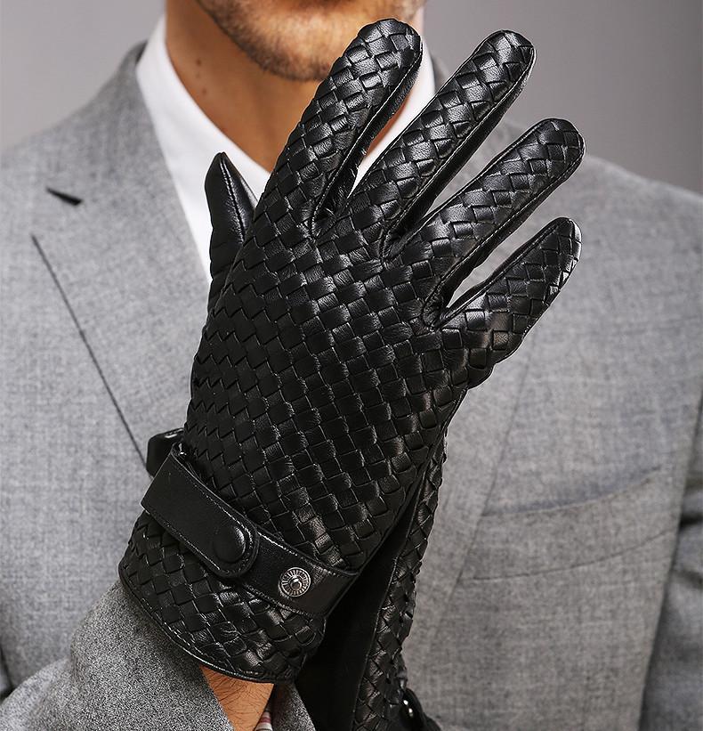 Guantes de moda para los hombres nuevos de gama alta de la armadura de piel de oveja genuina LeatherSolid muñeca del guante hombre conducción de invierno Calor