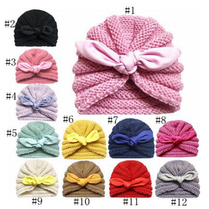 Kids Elastic Cotton Soft Knotted Caps Indian Beanies Head Wraps Baby Turban Hat