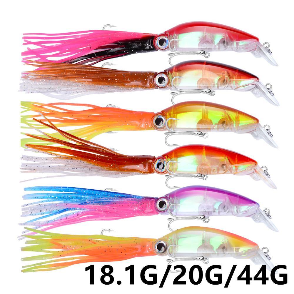 6 Color 18.1g/20g/44g Squid Fishing Hooks Fishhooks 2# & 1/0# Hook Hard Baits & Lures Fishing Tackle B-028