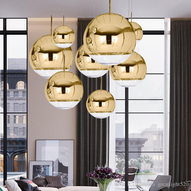 Pendant Light Space Ball simples chapeamento de vidro Hanging Lamp Espelho candelabro de prata / cor dourada