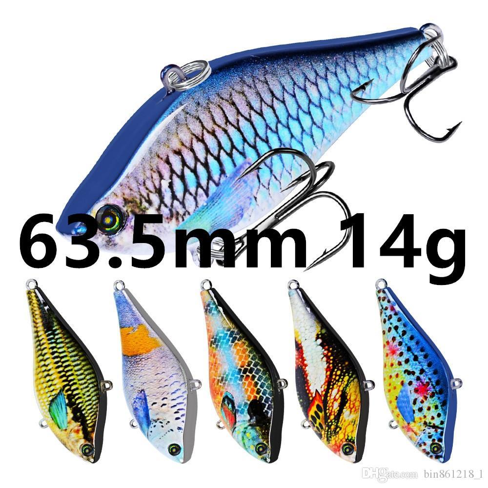 Смешанные 6 Цвет 63.5mm 14g VIB Рыболовные крючки Крючки 6 # Крюк Жесткий Приманки Приманки B-025