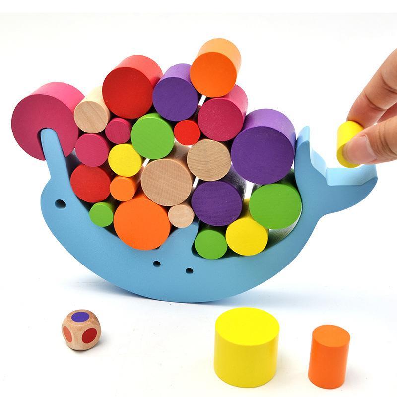Bebé Aprendizaje Temprano juguete de madera Dolphin Equilibrio de juguetes educativos de los bloques huecos de los niños Montessori niños Equilibrio regalo del juguete del juego