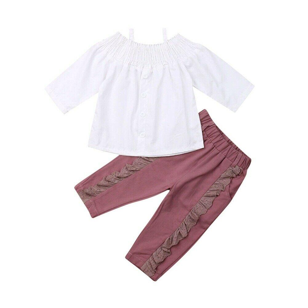 spalla 2PCS bambino bambini della neonata manica lunga Off White Shirt Tops Ruffles mutanda lunga per pantaloni Outfits ragazze che coprono insieme