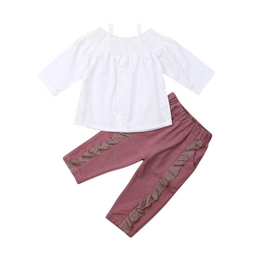 2 piezas de los cabritos del niño del bebé de manga larga del hombro blanca tapas de la camisa riza el pantalón largo pantalones Trajes arropan el sistema