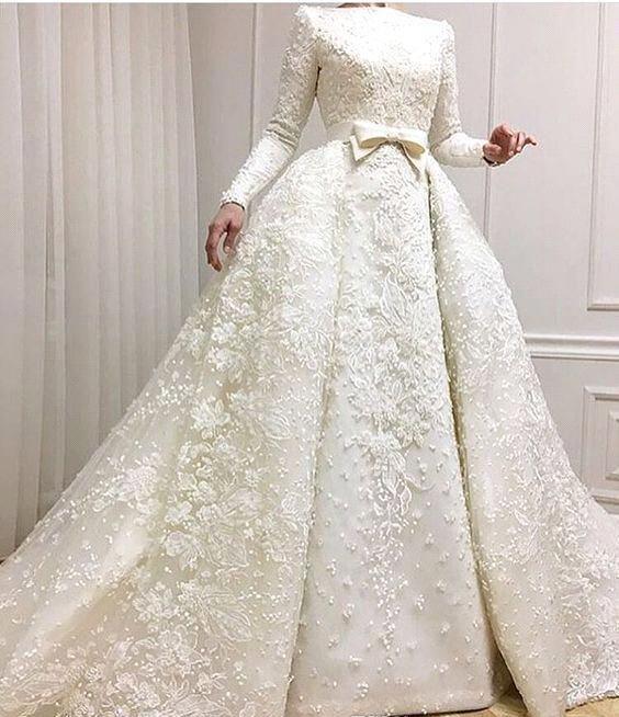 Discount Muslim Wedding Dress A Line Long Sleeves Appliqued Country Garden  Church Formal Bride Bridal Gown Custom Made Plus Size Best Wedding Dresses