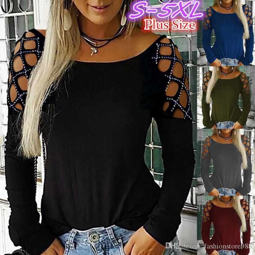 Мода женщин выдалбливают Сыпучие футболка с длинным рукавом Повседневная Drilling Crew Neck Блуза Tops Tee Plus Size