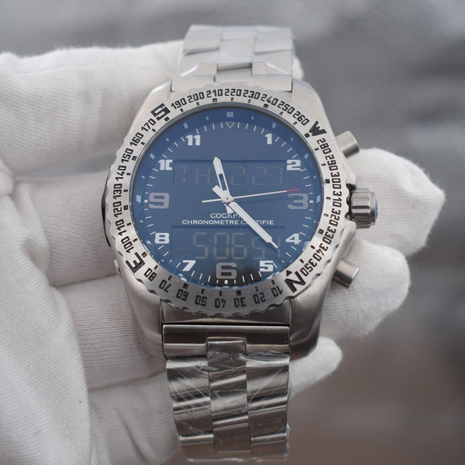 NOUVEAU PROFESSIONNEL 1884 2 020 mens fuseau horaire double montre affichage pointeur électronique de luxe Montre Montres-bracelets montres en métal
