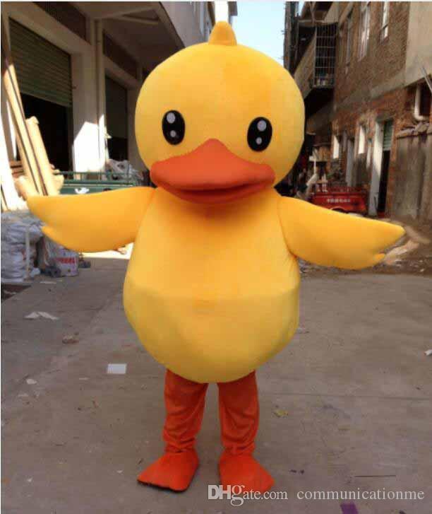 Personnalisé professionnel Jaune petit Canard Mascot Costume de bande dessinée Canard à bec plat Caractère Animal Vêtements Halloween festival Parti Fantaisie Robe