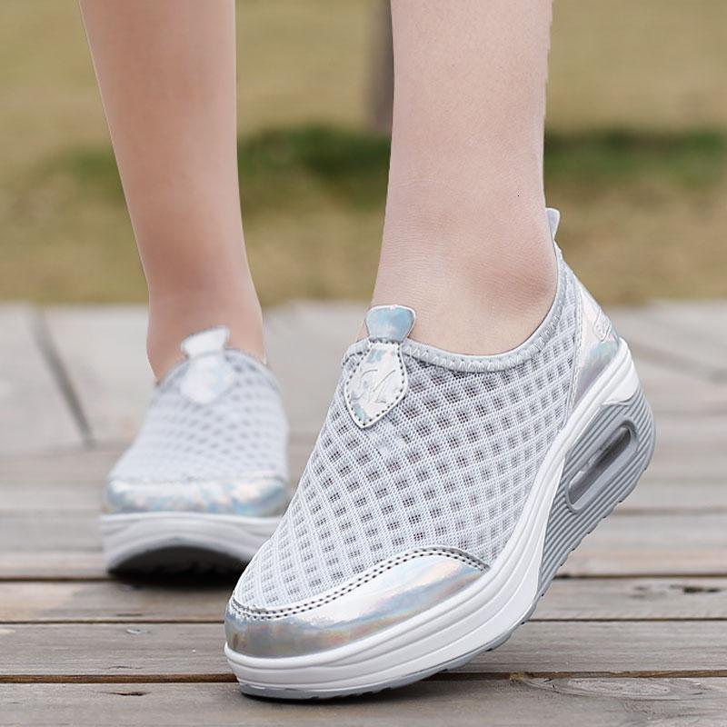 Women Air Cushion Platform Sneakers Breathable Fitness Shoes Height Increasing 5 Cm Shaky Shoes Anti-slip Slimming Shoes