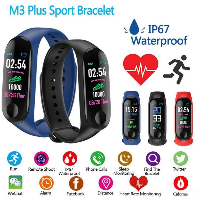 M3 Além disso inteligente Pulseira Cardíaca Pressão Arterial Telefone SMS Multi-Sports Modo Tempo automático brilhante tela Mi Band 3 pulseiras para HTC