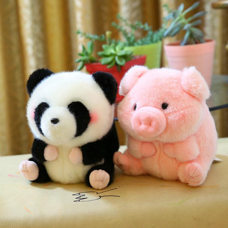 Round Panda Pig Penguin Rabbit Stuffed animals Cartoon Fat Round shape Chick Cute Long Plush Doll Toys for Children Baby toys