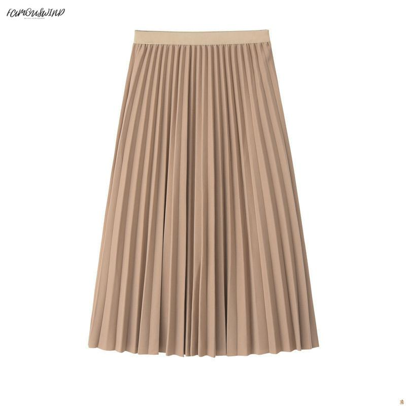 Falda 2019 para mujer Falda de cintura alta Falda midi plisada Jumper femenino Faldas midi Saia para mujer Falda de primavera vintage de una línea