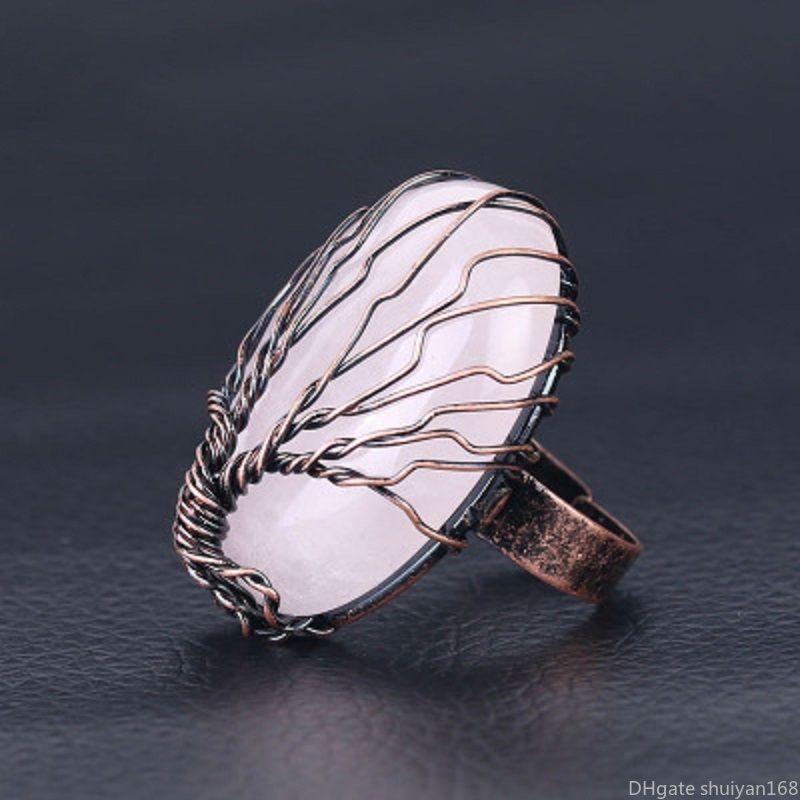 Árbol de la vendimia de la piedra preciosa de la vida de los anillos de cobre Opal cuarzo rosa Natrual de caracol de piedra hecha a mano ajustable dedo Banda manera joyería del anillo
